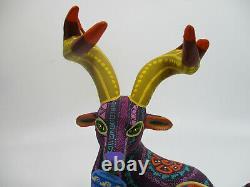 Grand Oaxacan Alebrije, Sculpture En Bois Colorée, Sculpture D'art Populaire Mexicaine Signée