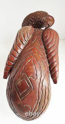 Grand Perroquet D'art Folklorique De Vtg Sculptant La Queue Jamaïcaine De Coeur De Bois Lourdtropical