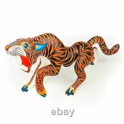Grand Tigre Oaxacan Alebrije Sculpture Sur Bois