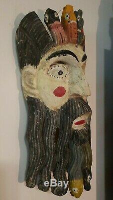 Grand Vintage Festival Du Mexique Ou Du Guatemala Masque En Bois Sculpté Folk Art Rare
