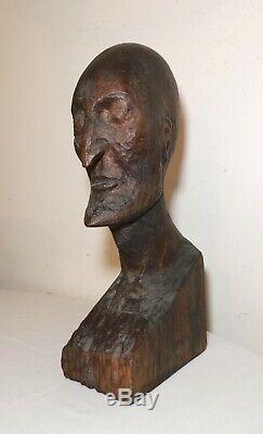 Grande Main Antique Sculpté Art Populaire Sculpture Statue Buste Face À La Tête De L'homme En Bois