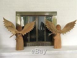 Grande Paire De Statues En Bois Sculpté Ange Aux Ailes Déployées Vintage Folk Art 24 W