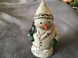 Greg Guedel Folk Art Original Carved Wood Snowman, Première Pièce Signée - Daté