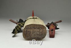 Greg Guedel Folk Art Original En Bois Sculpté Bonhomme De Neige, Début Pièce Daté Et Signé