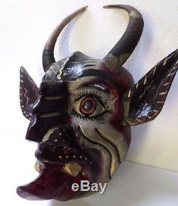 Guerrero Art Populaire Mexicain Masque En Bois Sculpté Diable Diablo Hochets Réel Goat Horns