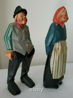 Gunnarsson Trygg Style Bois Sculpté Couple Art Populaire Suédois Signé Et Daté 1954