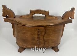 Hand Carved Folk Art Norwegian / Norway Horse Tine Scandinavian Bentwood Box