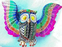 Hibou Grand Alebrije Coloré Hand Crafted Wood Carving Oaxacan Folk Art Oaxaca