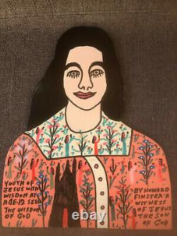 Howard Finster Original Signé Wood Cutout Jesus Figure 1991 Outsider Folk Art