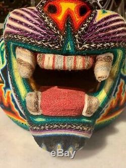Huichol Grand Bois Jaguar Sculpture Art Yarn Mexicaine D'art Populaire Sculpté Withyarn Rare
