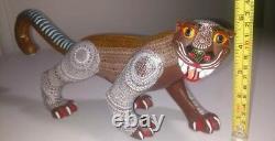 Jaguar Alebrije En Bois D'oaxacan D'exception