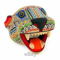 Jaguar Cat Tête Oaxacan Alebrije Sculpture Sur Bois Fine Art Populaire Mexicain Sculpture