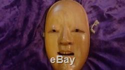 Japonais Asian Autochtone Antique Folk Art Bois Vintage Masque Noh En Bois Sculpté