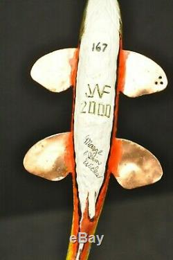 Jim Wicks 2000 Marge Curtis MI Sculpté À La Main Poisson Spearing Decoy Signée Art Folk