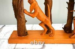 John Cowden Woodcarvers Sculpture Man Hunting Withshotgun - Dog Signed Tn Folk Art