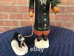 Jonathan Bastian Folk Art Carved Wooden Santa Claus With Dog
