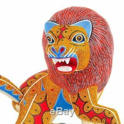 Lion Oaxacan Alebrije Sculpture Sur Bois Fine Mexican Folk Art Sculpture