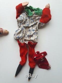 Lot De 3 Main Antique Sculpté Marionnettes À Main D'art Populaire De Poinçon En Bois