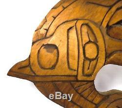 Lou-oakswan Tribu Des Nishgas Du Clan Du Loup Bc Vint Signé Épaulard Sculpture Sur Bois
