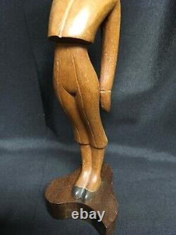 MID Century Jose Pinal J. Pinal Wood Carving Artist Signé Mexican Folk Art