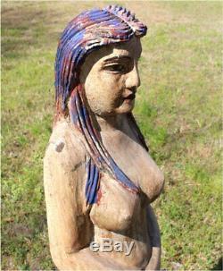 Main En Bois Sculpté Sirène Statue Debout Art Populaire Painted Nautique 4 Pieds De Haut
