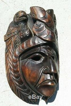 Main Guatemala Sculpture Sur Bois Masque Gens Maya Art Chef Portrait Kukulkan