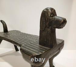 Main-carved Postmodernisme Dog Footstool, Stephen Huneck Folk Art, Vers 2000