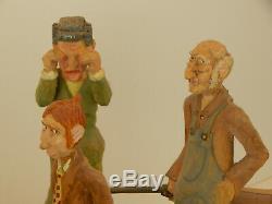 Maître Carver Richard Jensen, Ny Sculpté Bois Pays Mariage Diorama -folk Art