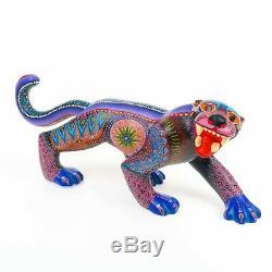 Majestic Jaguar Oaxacan Alebrije Sculpture Sur Bois Fine Mexican Folk Art Sculpture