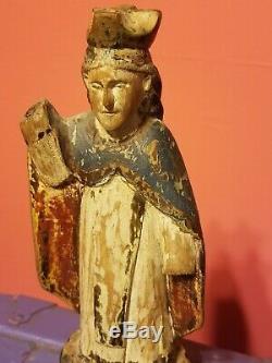Mary Madonna Santos Saint Polychromie Antique Bois D'art Religieux Populaire Sculpté