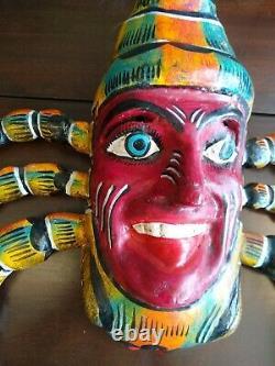 Masque De Scorpion Sculpté À La Main Mexicain En Bois Sculpté Figure Vintage Art Populaire