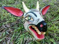 Masque De Tête De Cerf Sculpté Sculpté Mexicain Sculpture De Sculpture En Bois Folk Art Cornes D'or