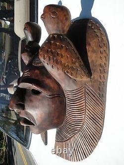 Maya Main En Bois Sculpté Masque Gens Guatemala Art Chef Visage Scuplture Avec Des Oiseaux
