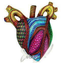 Mexicain Wood Carving, Heart Humain Alebrije Oaxacan Folk Art, Oaxaca Mexique