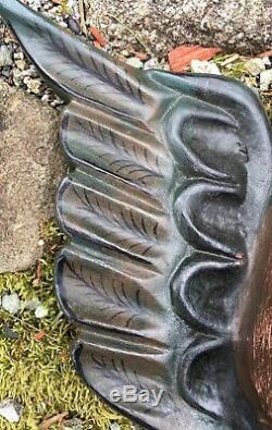 Mexicaine Bois Sculpté Cherub Avec Des Ailes Folk Art Chérubins Double Cherub Faces