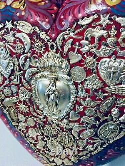 Mexicaine Milagros Sacré Coeur 20 Bois Sculpté Mur Plaque Ex Voto Art Populaire