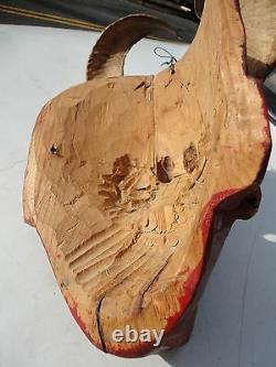 Mexican Folks Art Vieux Masque Diablo Diable De Bois Sculpté Avec Cornes De Bélier Et Yeux En Verre