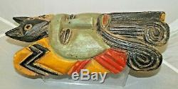 Mexique 1937 Bois Sculpté Peint Folk Art Festival Masque Tribal Piece Touristique