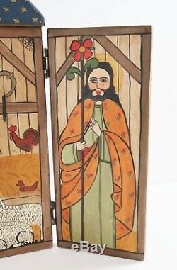 Monica Sosaya Halford Nouveau-mexique Art Populaire Nativité Pliant Retable Sculpture