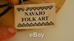 Native American (navaho) Folk Art Bois Poulet, Ben Curley, Bleu, 13 Paraphée