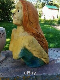 Navires Sirène Nautique Réel Figure De Proue En Bois Sculpture Carving Folk Art