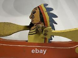 Nice Old American Folk Art Indien En Canoë Whirligig Sculpture Ca Années 1930