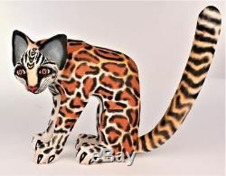 Oaxacan Sculpture Sur Bois Eleazar Morales Lg Ocelot Wild Cat Oaxaca Art Populaire Mexicain