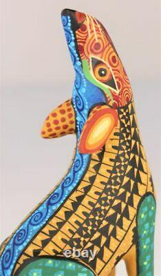 Oaxacan Sculpture Sur Bois Juventino Melchor Coyote Oaxaca Mexique Folk Art Alebrije