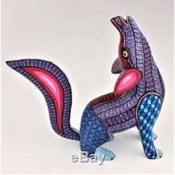 Oaxacan Sculpture Sur Bois Melchor Howling Coyote Oaxaca Art Populaire Mexicain Alebrije