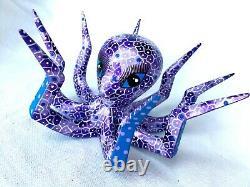 Octopus Alebrije Peinture À La Main Sculpture Sur Bois Art Folklorique Oaxaca Mexique