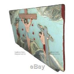 Old African American Folk Art, Crucifixion, Arkansas, Sculpture Religieuse Relief