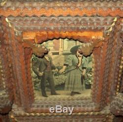 Old Antique Vtg Début Des Années 1900 Fantastique Tramp Art Tour Photo 42 Grand Grand Folk