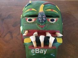 Old Art Populaire Mexicain Sculpté Bois Masque Diable Serpent Jour Des Vraies Dents Mortes