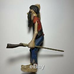 Old Folk Art Sculpté À La Main Hillbilly Famille Lot En Bois De 6 Chiffres